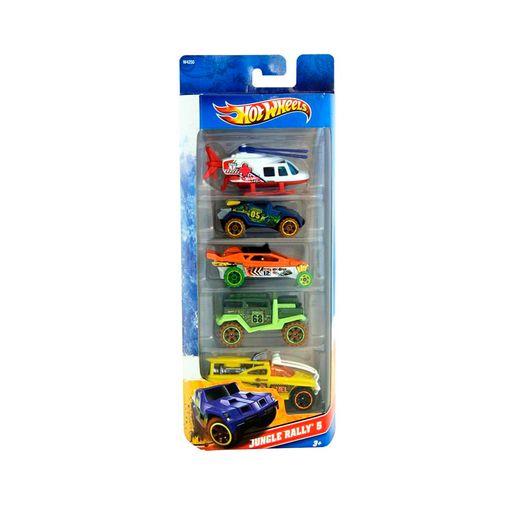 Hot-Wheels-Com-5-Carros-Jungle-Rally