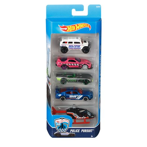 Hot-Wheels-Pacote-Presente-com-5-Carros-Police-Pursuit---Mattel