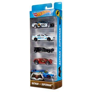 Hot-Wheels-Pacote-com-5-Carros-Batman-e-Superman---Mattel