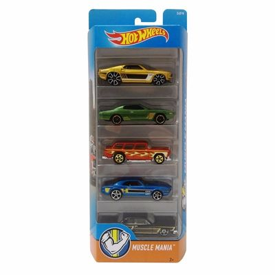 Hot-Wheels-Pacote-Presente-com-5-Carros-Muscle-Mania---Mattel