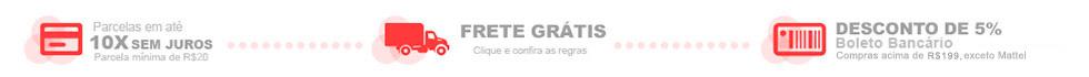 banner - Parcelamento em até 10x sem juros - Frete Grátis Brasil em compras acima de 99 - Desconto de 5% nas compras no boleto acima de 100,00
