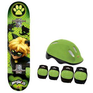 Skate-Cat-Noir-com-Acessorios-de-Seguranca---Fun-Divirta-se