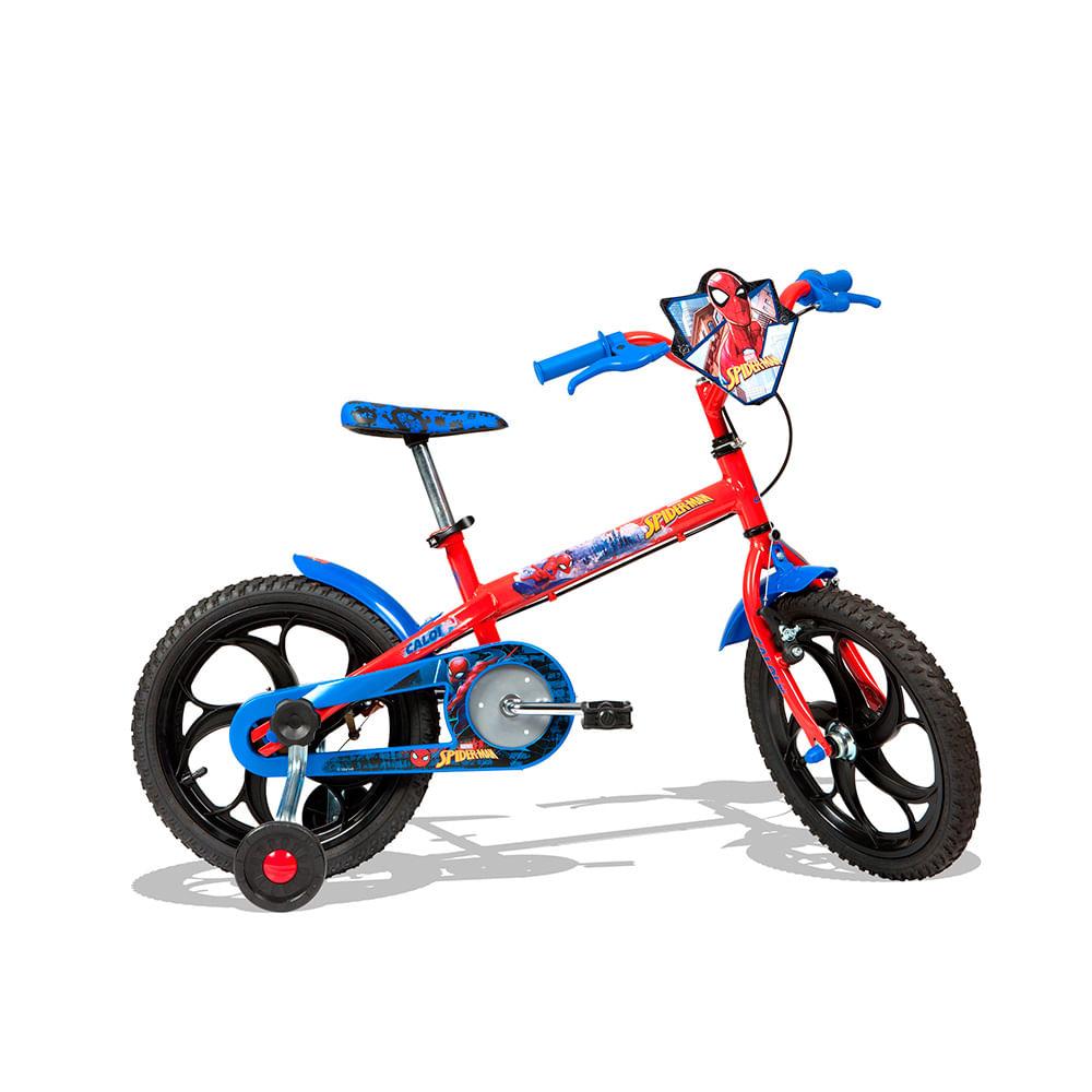 Bicicleta Aro 16 com Rodinhas Homem Aranha Vermelha - Caloi - Toymania 4fee68738cb