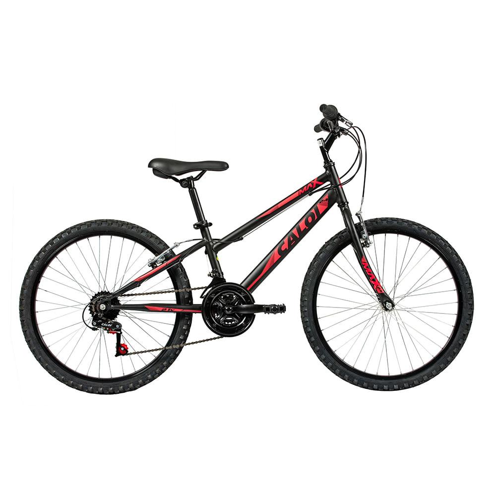 Bicicleta Aro 24 - 21 Marchas Freio V-Brake Max Preta - Caloi - Toymania c4cb885743ec3