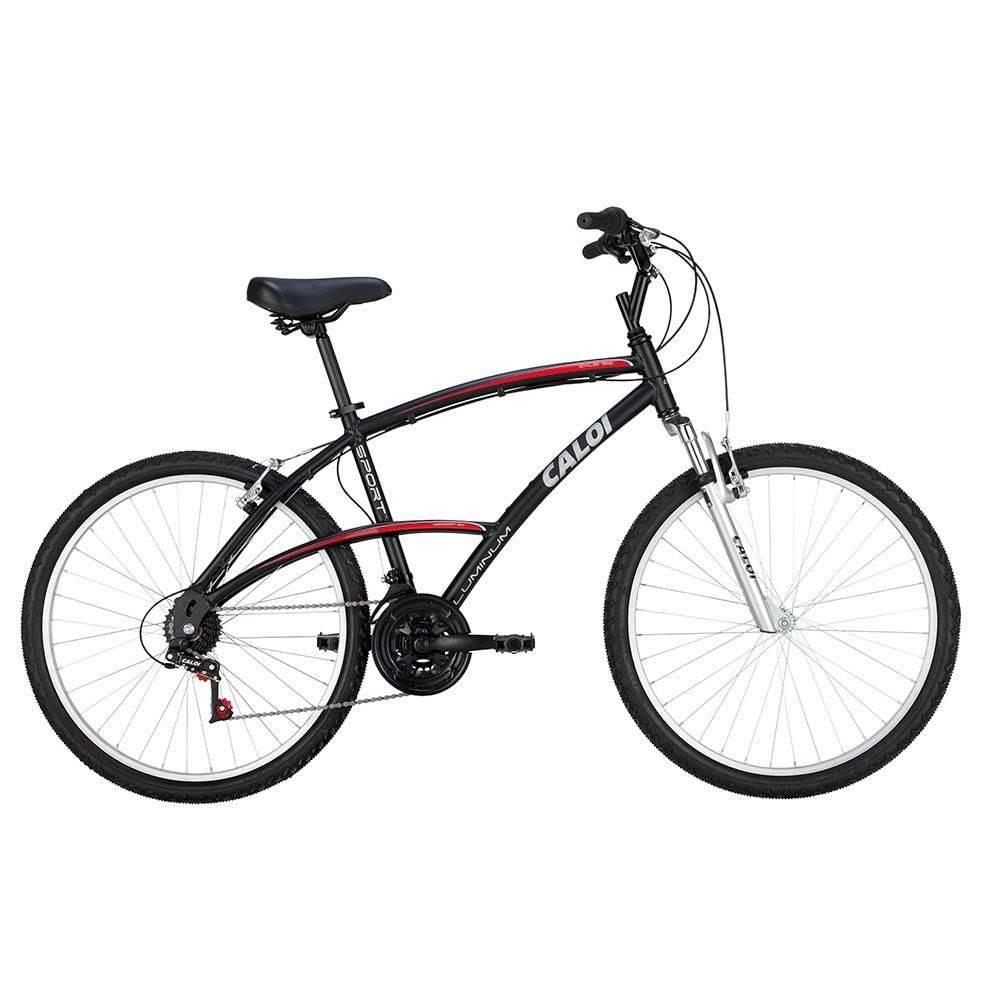 Bicicleta Aro 26 - 21 Marchas 100 com Suspensão Dianteira Sport Preta -  Caloi - Toymania dd53250364bd2