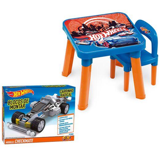 Kit-Hot-Wheels-Blocos-de-Montar-Carrinho-Radical-Chekmate-com-Mesa-e-Cadeira---Fun-Divirta-se