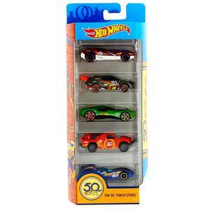 Hot-Wheels-50-Anos-Pacote-Presente-com-5-Carros-Track-Star---Mattel