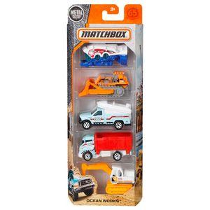 Matchbox-Pacote-Presente-com-5-Carros-Ocean-Works---Mattel
