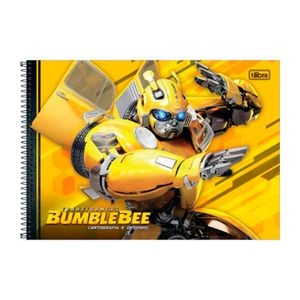 Caderno-Espiral-Capa-Dura-Cartografia-Fundo-Amarelo-Transformers-80-Folhas--Tilibra