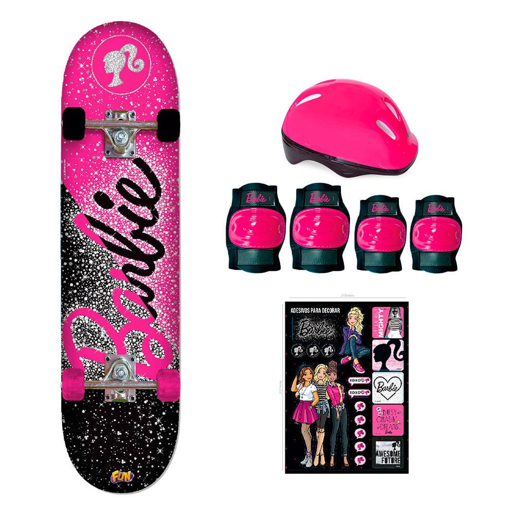b4ac89c043b Barbie Skate com Acessórios de Segurança e Adesivos Glitter - Fun  Divirta-Se