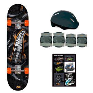 Hot-Wheels-Skate-com-Acessorios-de-Seguranca-Preto-e-Laranja---Fun-Divirta-se