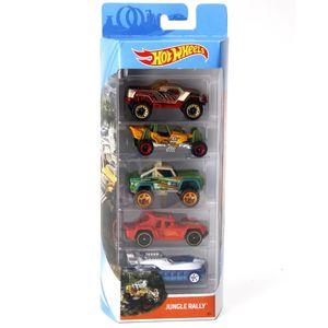 Hot-Wheels-Pacote-Presente-com-5-Carros-Jungle-Rally---Mattel