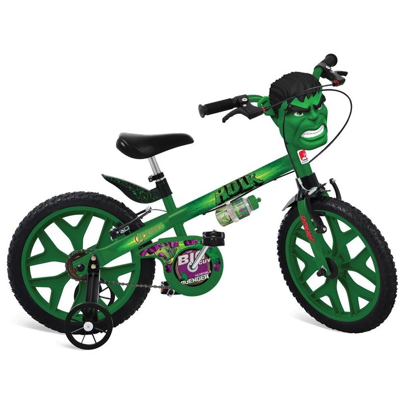 06686a406 Bicicleta Aro 16 com Rodinhas Os Vingadores Hulk - Bandeirante ...