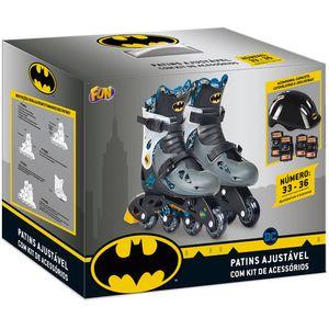 Batman-Patins-Ajustavel-33-a-36-com-Kit-de-Seguranca---Fun-Divirta-se