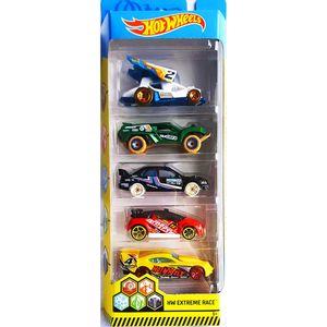 Hot-Wheels-Pacote-Presente-com-5-Carros-Extreme-Race---Mattel