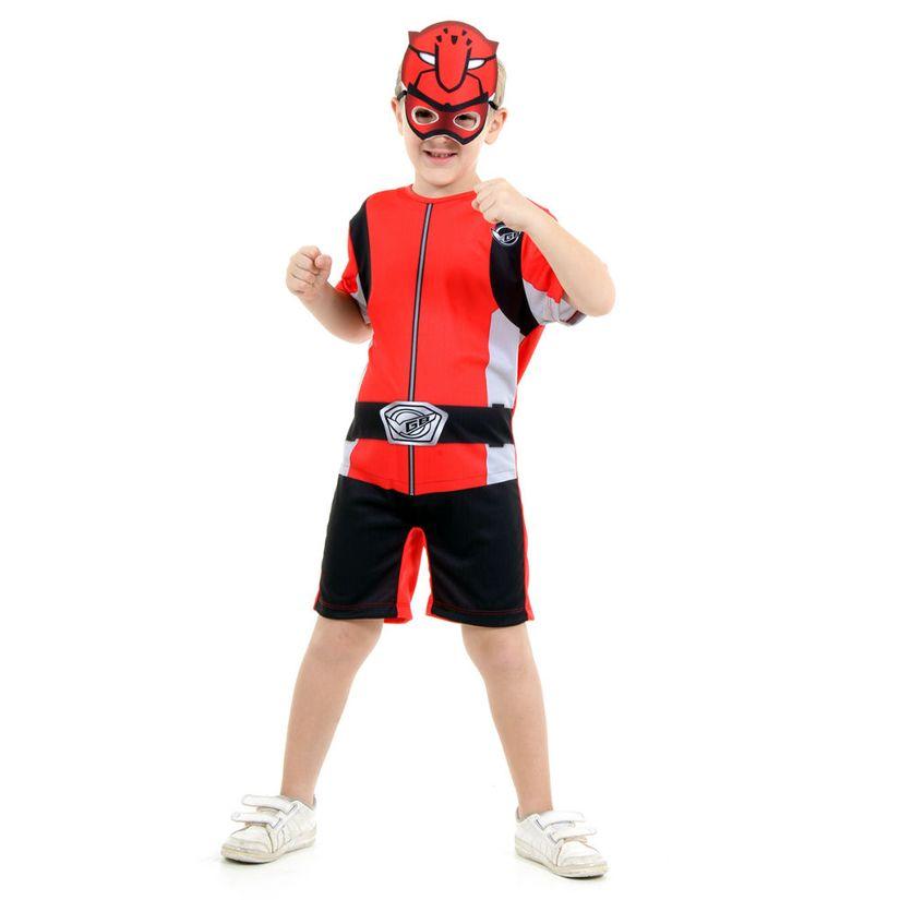 Fantasia Power Ranger Beast Morphers Vermelho Curto P - Sulamericana